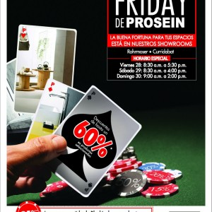 Prosein BLACKJACK friday. Anuncio de prensa.